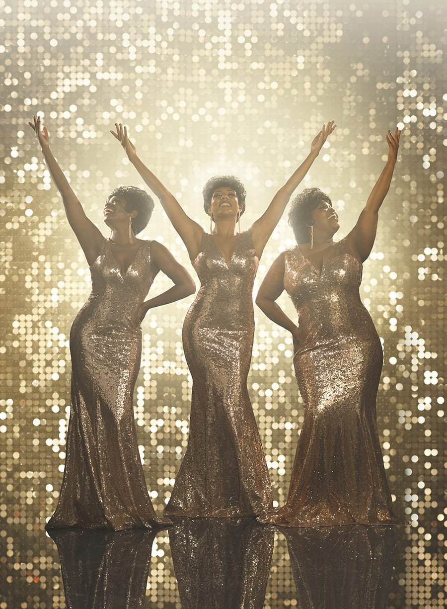 Amber Riley as Effie White, Liisi LaFontaine as Deena Jones, Ibinabo Jack as Lorrell Robinson in Dreamgirls (Photo: Greg Williams)