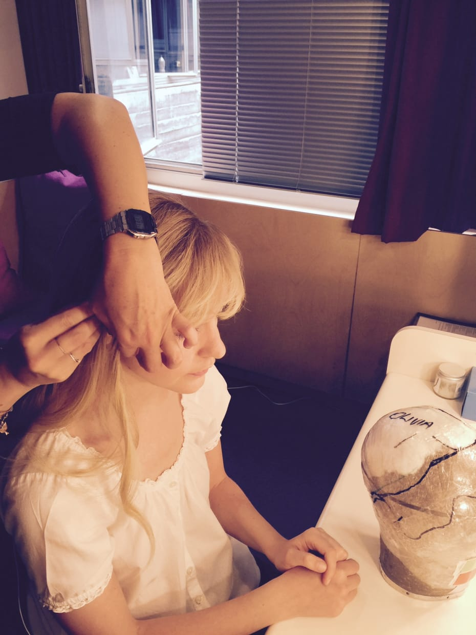 11am, and the wig is on. Getting ready as Sofya in Platonov.