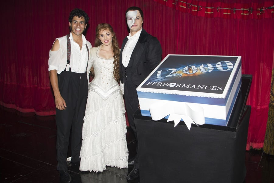 5_Liam Tamne, Geronimo Rauch and Harriet Jones celebrate Phantom's 12000th performance Photo by Dan Woo
