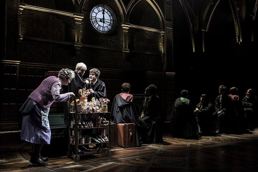 Sandy McDade, Anthony Boyle, Sam Clemmett and the cast of Harry Potter And The Cursed Child at the Palace Theatre (Photo: Manuel Harlan)