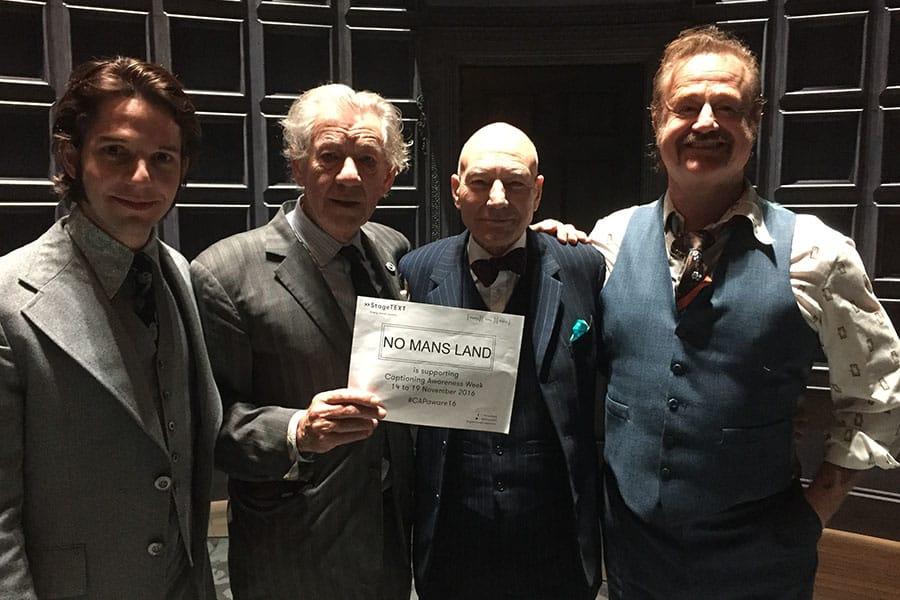Damien Molony, Ian McKellen, Patrick Stewart and Owen Teale supporting Captioning Awareness Week