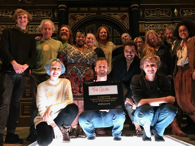 The cast of Comus supporting Captioning Awareness Week
