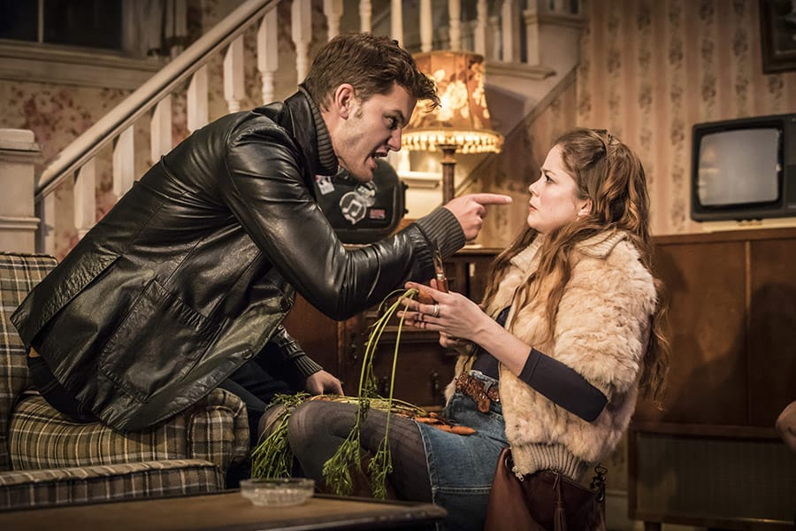 Jeremy Irvine and Charlotte Hope in Buried Child at Trafalgar Studios (Photo: Johan Persson)
