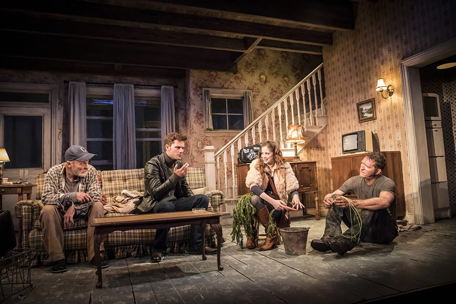 Ed Harris, Jeremy Irvine, Charlotte Hope and Barnaby Kay in Buried Child at Trafalgar Studios (Photo: Johan Persson)