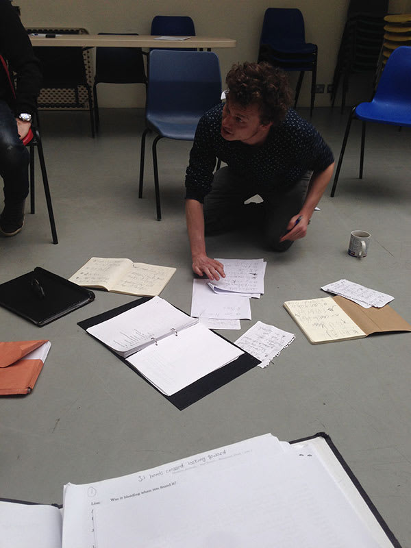 Hamish Pirie, the director, giving us some much needed notes.