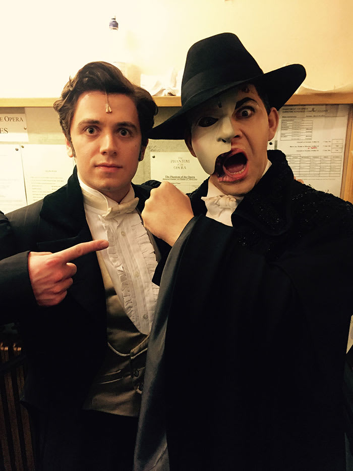 Nadim Naaman and Ben Forster backstage at The Phantom Of The Opera