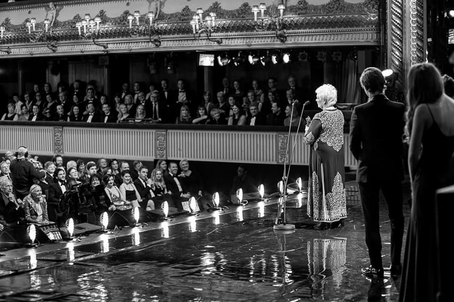 Judi Dench accepts her award at the Olivier Awards 2016 with MasterCard (Photo: Matt Humphrey)