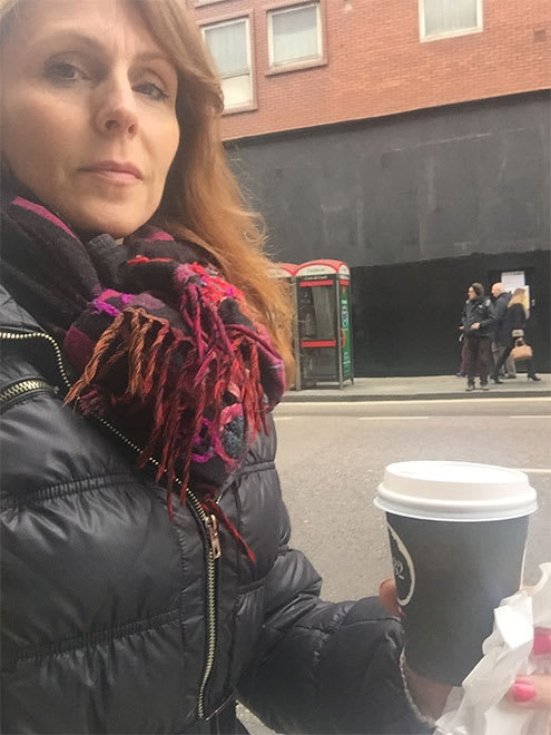 Rebecca Thornhill enjoys her morning coffee