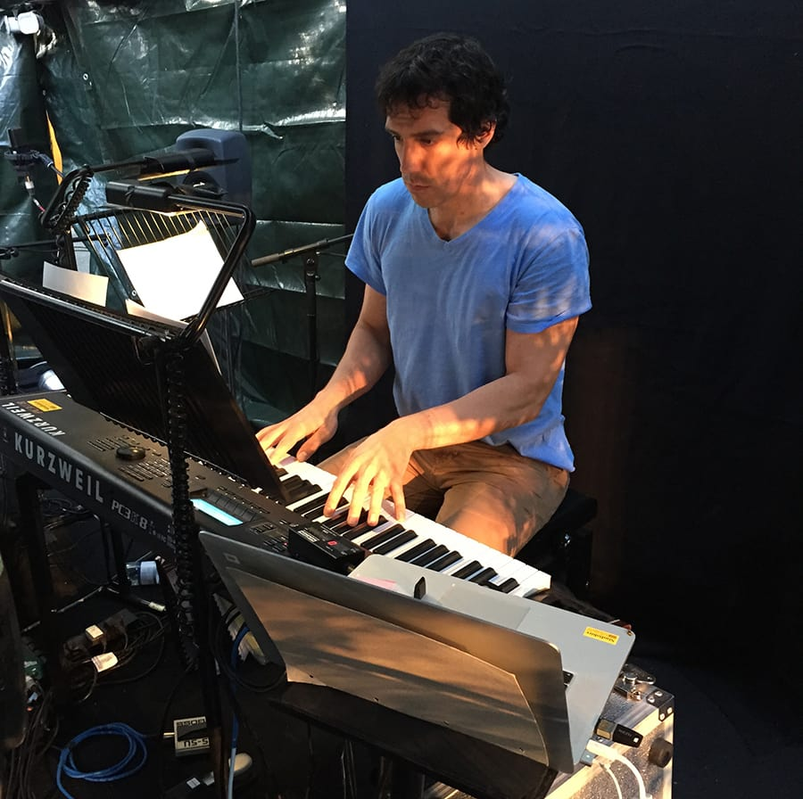 Alex Gaumond: Using the band's keyboard to go through some audition material.