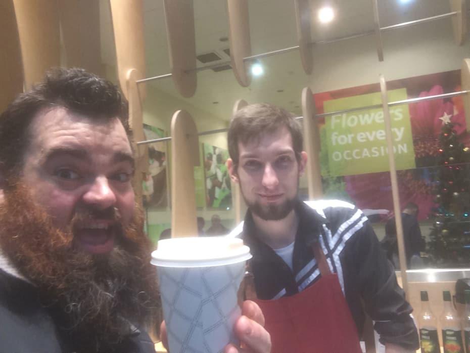 Dean Nolan grabbing a coffee