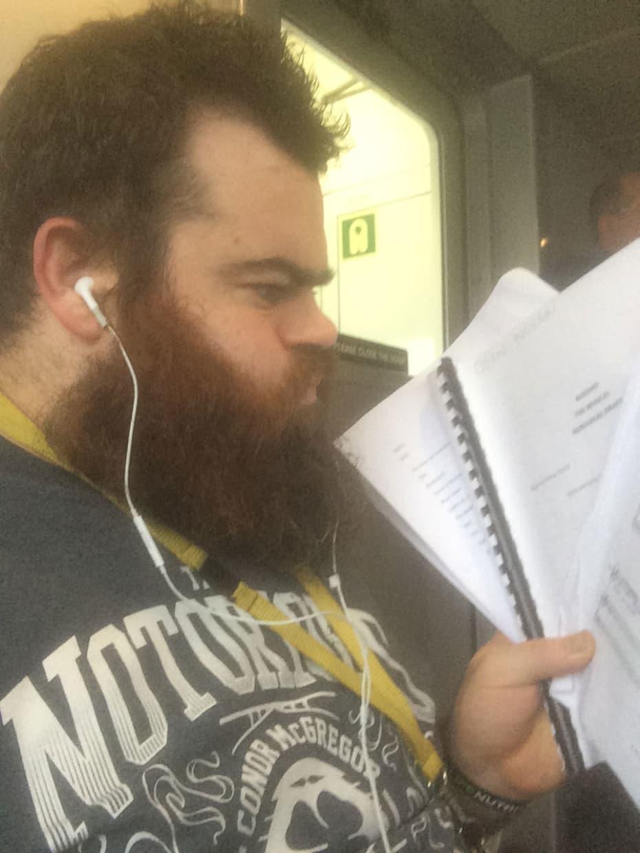 Dean Nolan with his notes