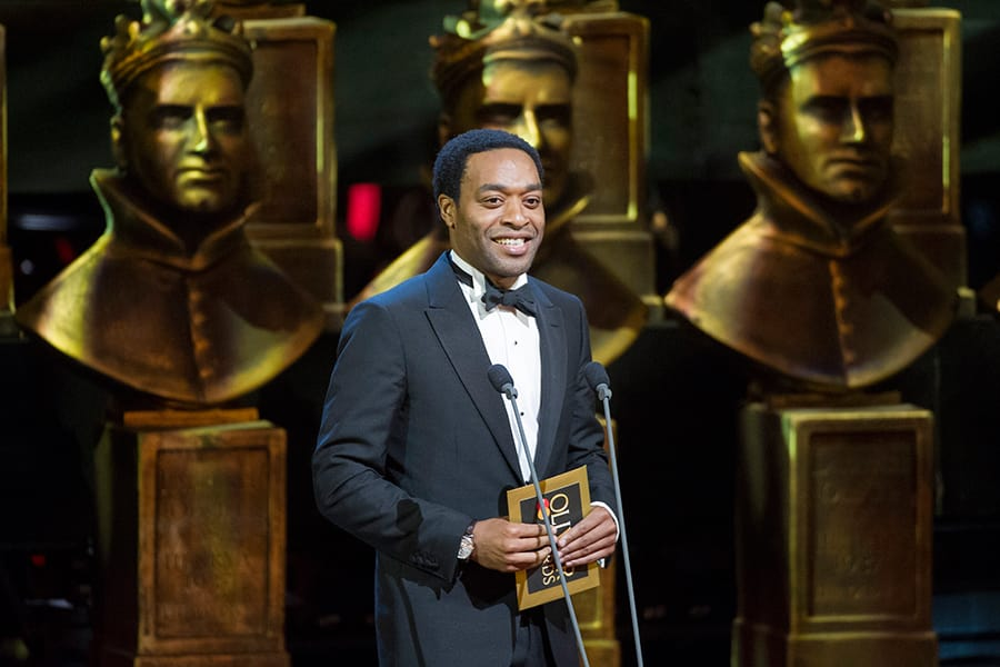 Chiwetel Ejiofor presents at the Olivier Awards 2015 with MasterCard (Photo: Alastair Muir)