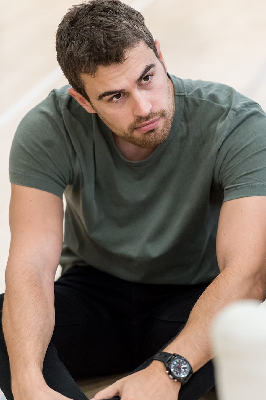 Theo James in rehearsal for Sex With Strangers at the Hampstead Theatre (Photo: Manuel Harlan)