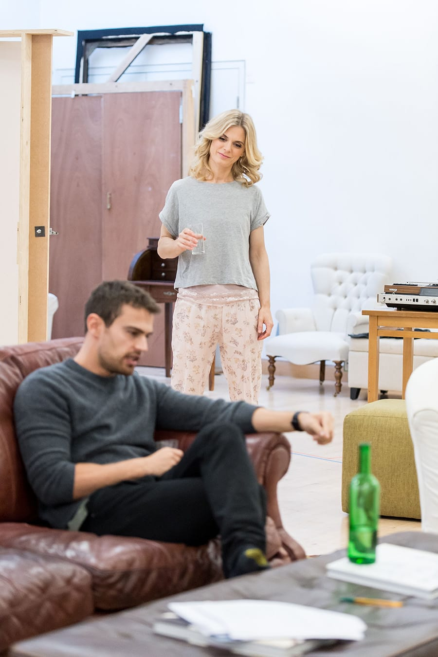Emilia Fox and Theo James in rehearsal for Sex With Strangers at the Hampstead Theatre (Photo: Manuel Harlan)