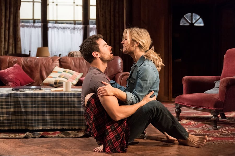 Emilia Fox (Olivia) and Theo James (Ethan) in Sex with Strangers at Hampstead Theatre. Credit Manuel Harlan
