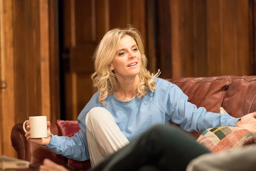 Emilia Fox (Olivia) in Sex with Strangers at Hampstead Theatre. Credit Manuel Harlan