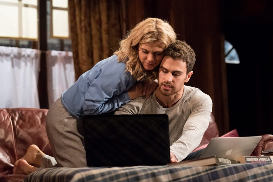 Emilia Fox (Olivia) and Theo James (Ethan) in Sex with Strangers at Hampstead Theatre. Credit Manuel Harlan (3)