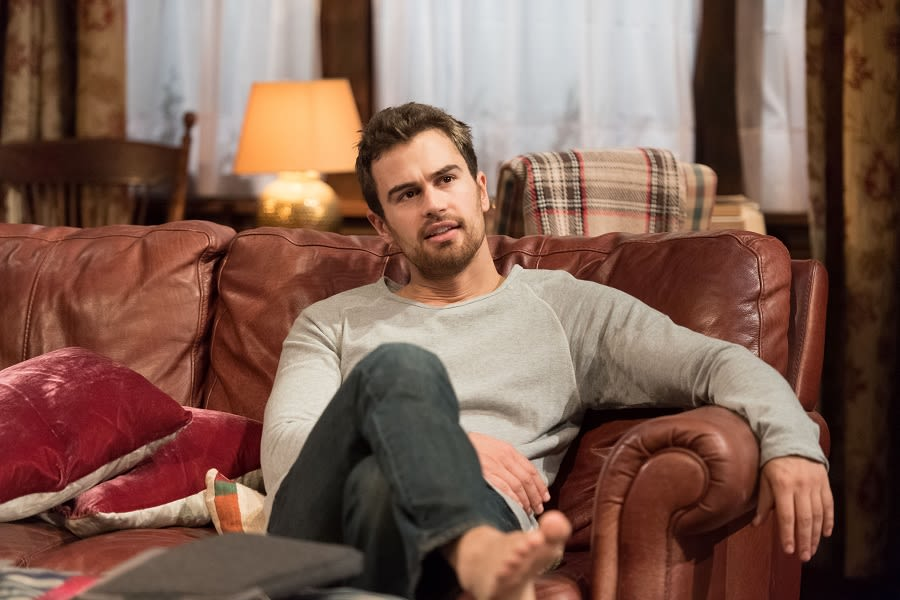 Theo James (Ethan) in Sex with Strangers at Hampstead Theatre. Credit Manuel Harlan