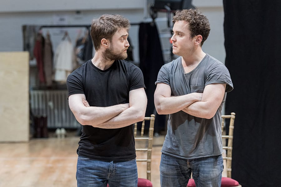 Daniel Radcliffe (Rosencrantz) and Joshua McGuire (Guildenstern) in rehearsals for Rosencrantz & Guildenstern Are Dead at The Old Vic (Photo: Manuel Harlan)