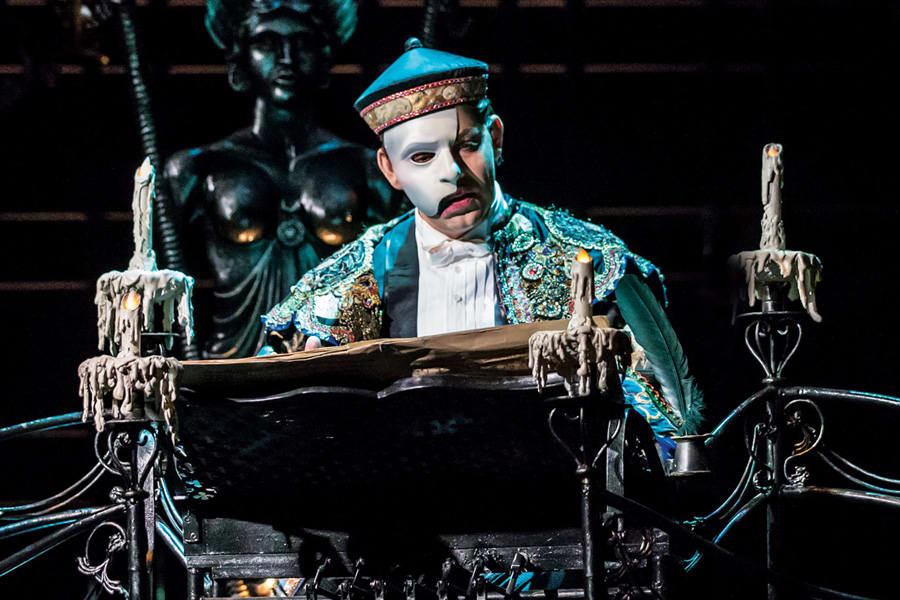 Ben Forster as the Phantom in The Phantom Of The Opera (Photo: Johan Persson)