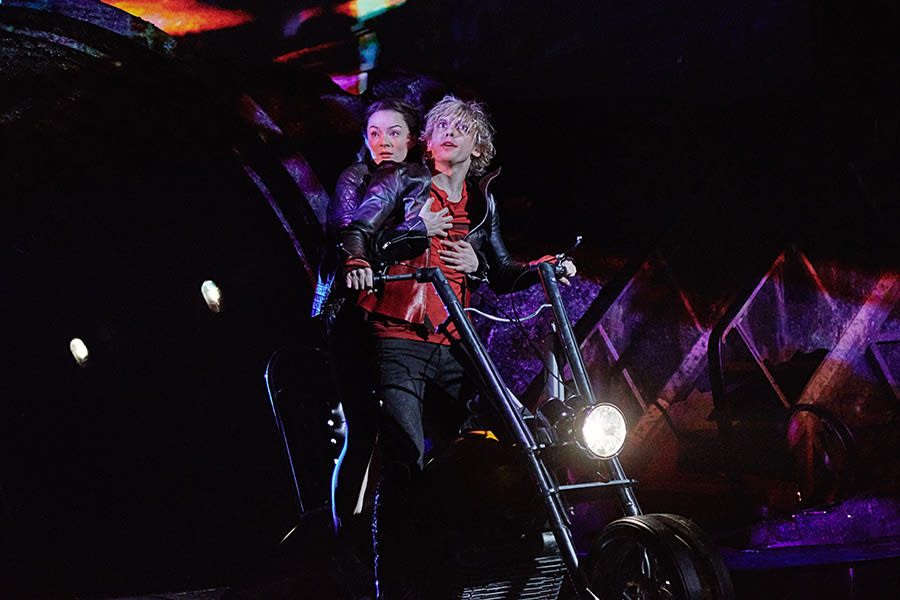 Christina Bennington as Raven and Andrew Polec as Strat in Bat Out Of Hell - The Musical (Photo: Specular)