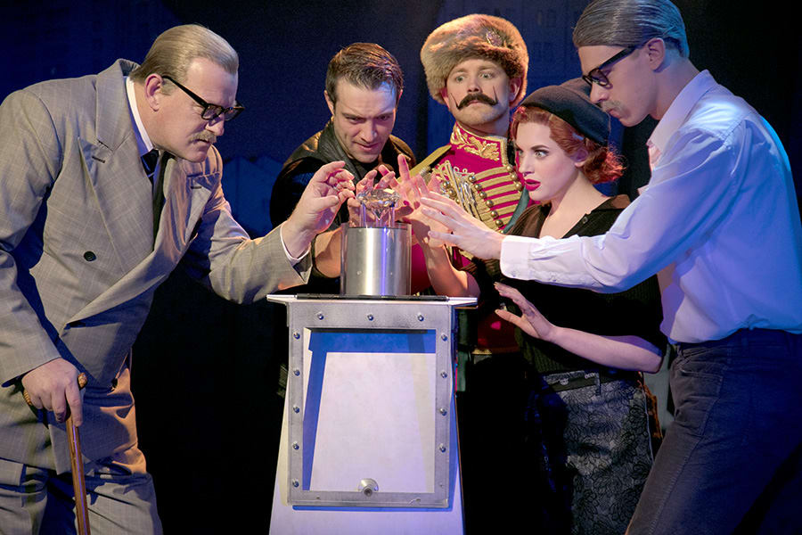 Sean Kearns (Freeboys), Gareth Tempest (Mitch), Jeremy Lloyd (Everyone Else), Hannah Boyce (Caprice) and Steffan Lloyd-Evans (Sam) in The Comedy About A Bank Robbery (Photo: Darren Bell)
