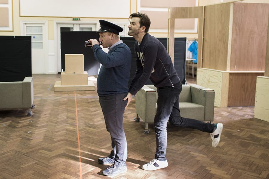 Adrian Scarborough and David Tennant in rehearsals for Don Juan In Soho (Photo: Helen Maybanks)