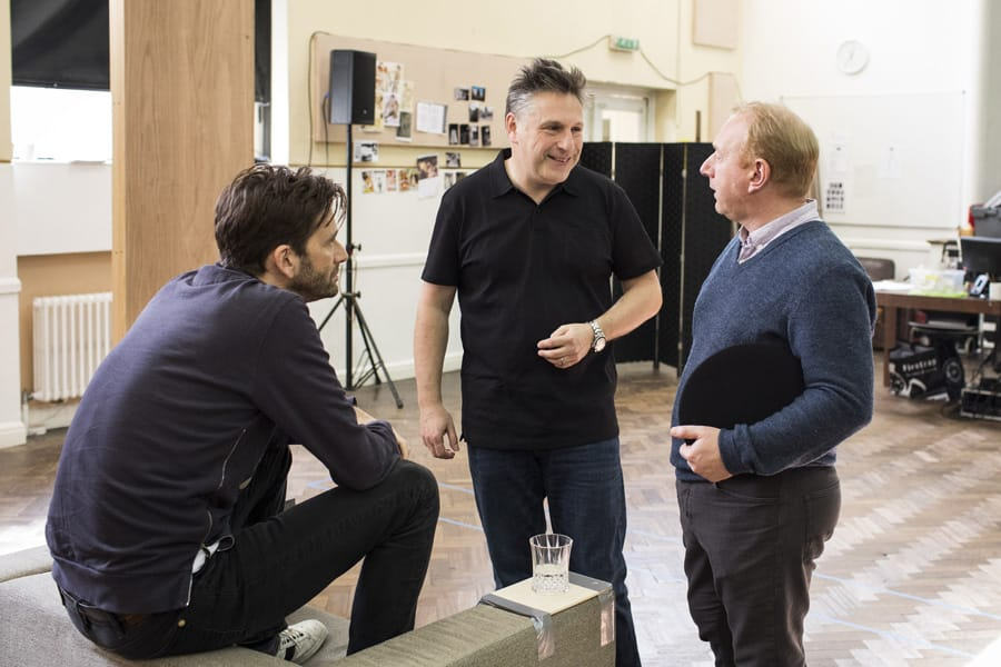 Adrian Scarborough, David Tennant and Patrick Marber in rehearsals for Don Juan In Soho (Photo: Helen Maybanks)