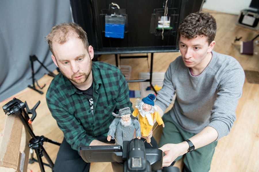 David Emmings (Puppeteer and Devisor) and Sam Clark (Puppeteer and Devisor) in rehearsal for The Missing Light at The Old Vic (Photo: Manuel Harlan)
