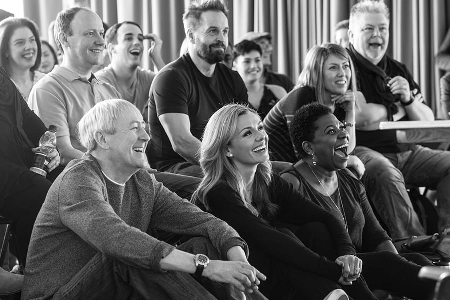 Nicholas Lyndhurst, Alfie Boe, Katherine Jenkinsn & Brenda Edwards with members of the cast in rehearsal for Carousel (Photo: Craig Sugden)