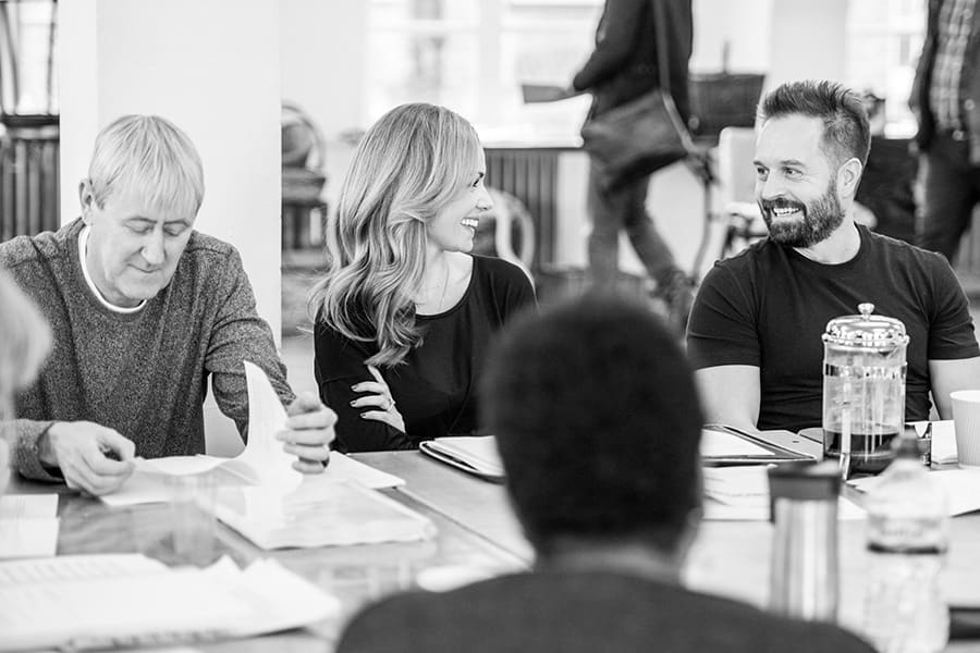 Nicholas Lyndhurst, Katherine Jenkins and Alfie Boe in rehearsal for Carousel (Photo: Craig Sugden)