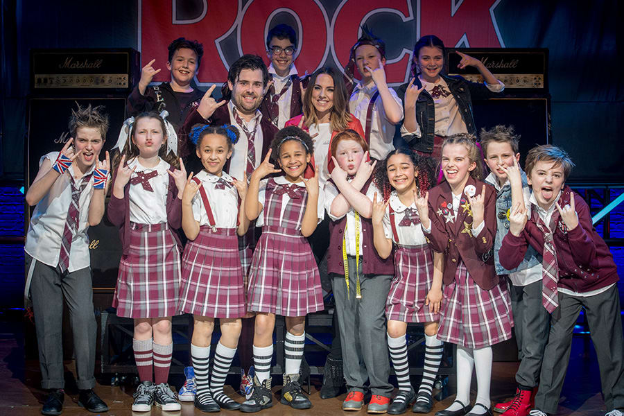 David Fynn, Mel C and the kids from School Of Rock The Musical (Photo: Craig Sugden)
