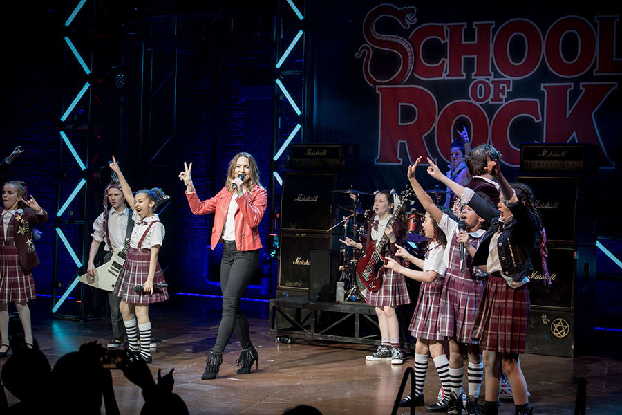 Mel C performs with the School Of Rock The Musical kids (Photo: Craig Sugden)