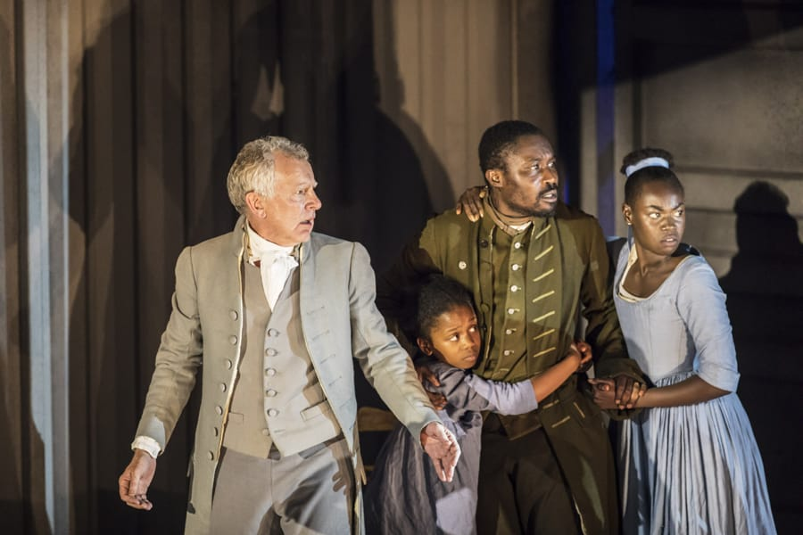 Patrick Driver (Manette), Foyinsola Ighodalo (Little Lucie), Jude Owusu (Darnay) and Marième Diouf (Lucie) in A Tale Of Two Cities at Regent's Park Open Air Theatre (Photo: Johan Persson)