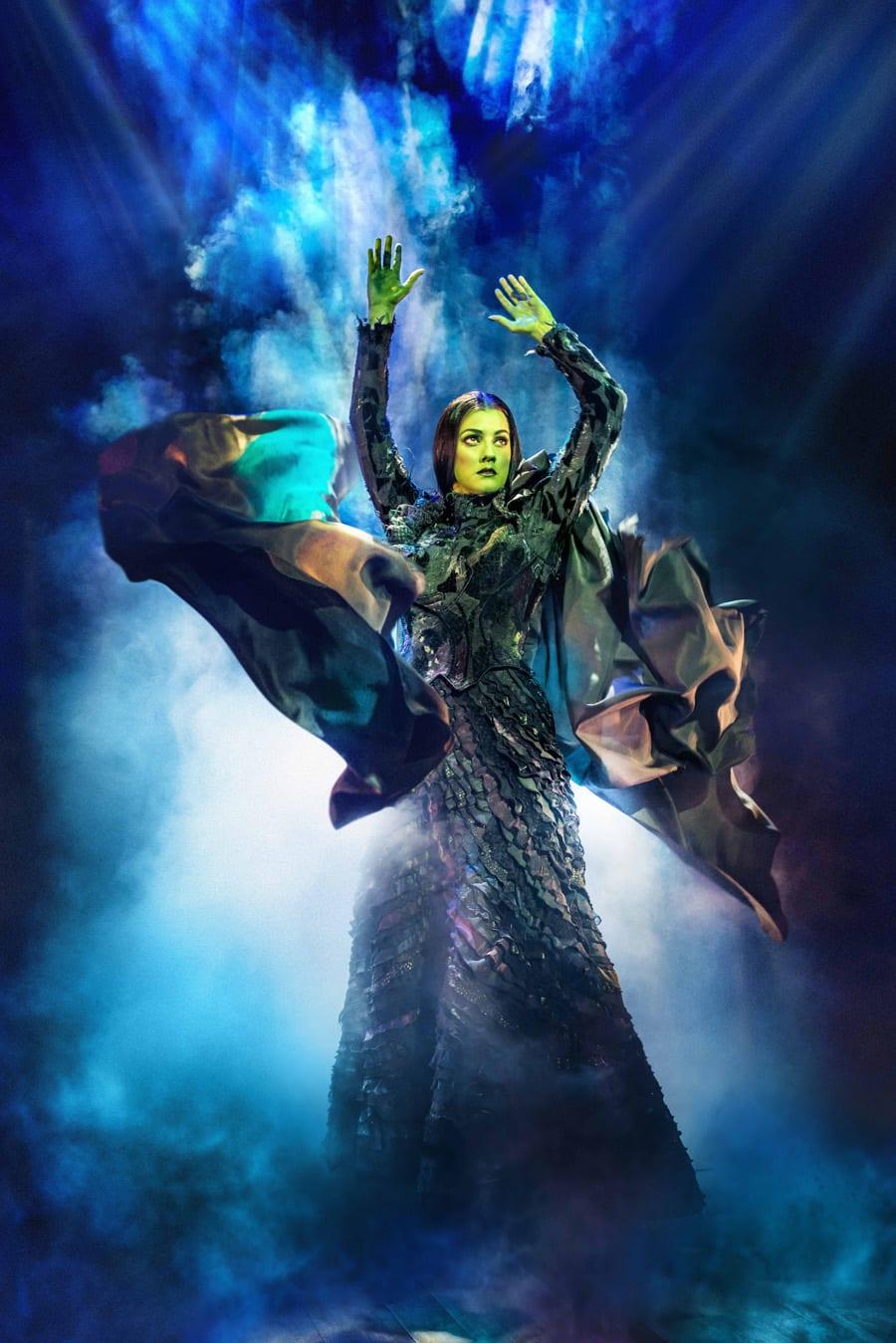 Alice Fearn (Elphaba) in Wicked at The Apollo Victoria Theatre (Photo: Matt Crockett)