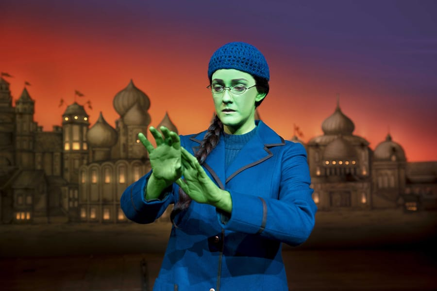 Alice Fearn (Elphaba) in Wicked at The Apollo Victoria Theatre (Photo: Matt Crockett)