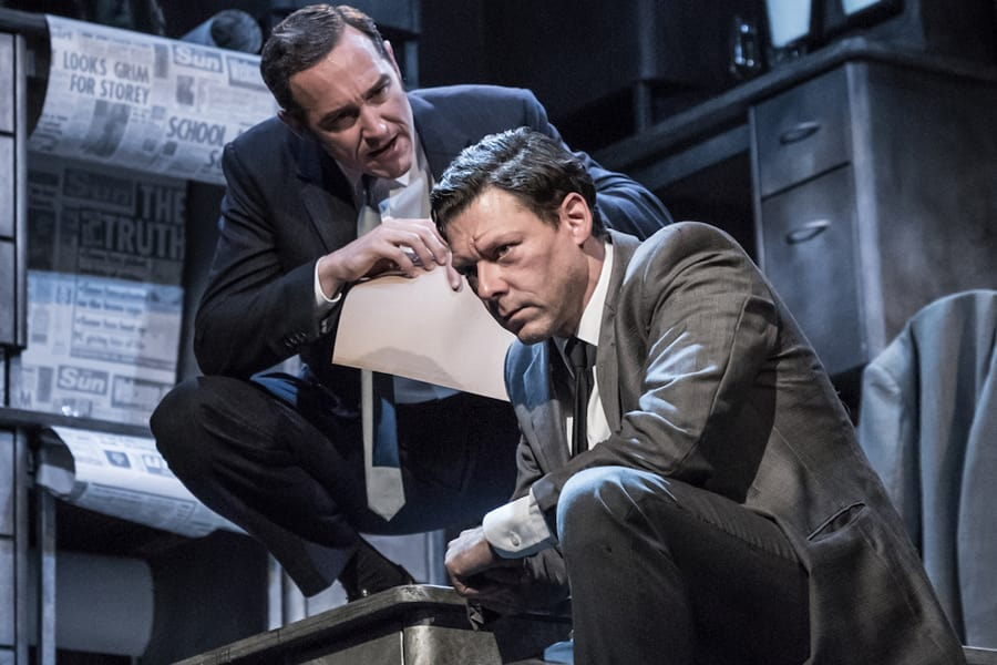 Bertie Carvel (Rupert Murdoch) and Richard Coyle (Larry Lamb) in Ink at the Almeida Theatre (Photo: Marc Brenner)