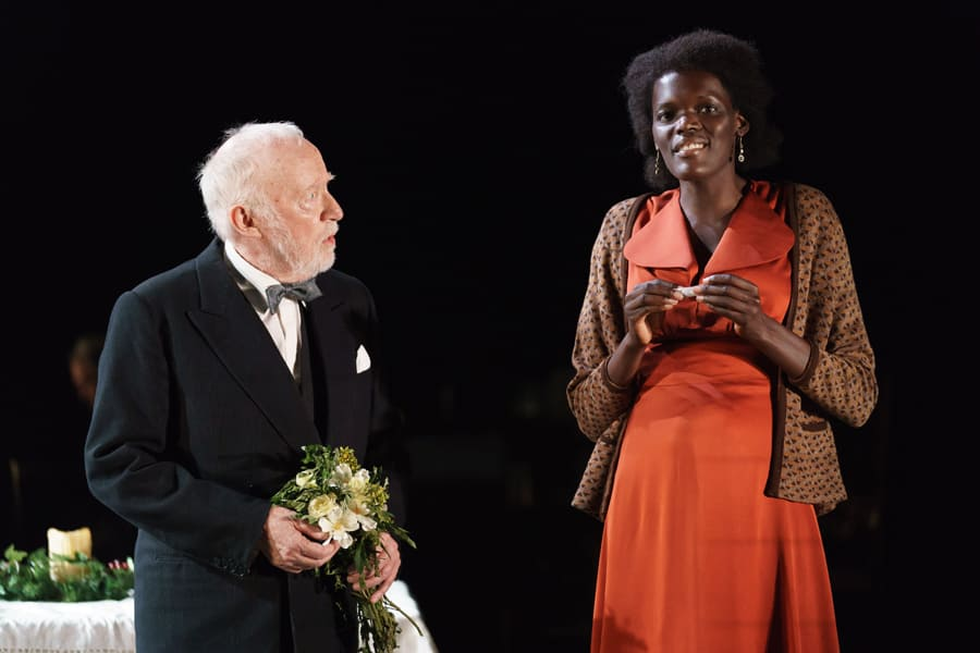 Jim Norton (Mr Perry) and Sheila Atim (Marianne Laine) in Girl From The North Country (Photo: Manual Harlan)