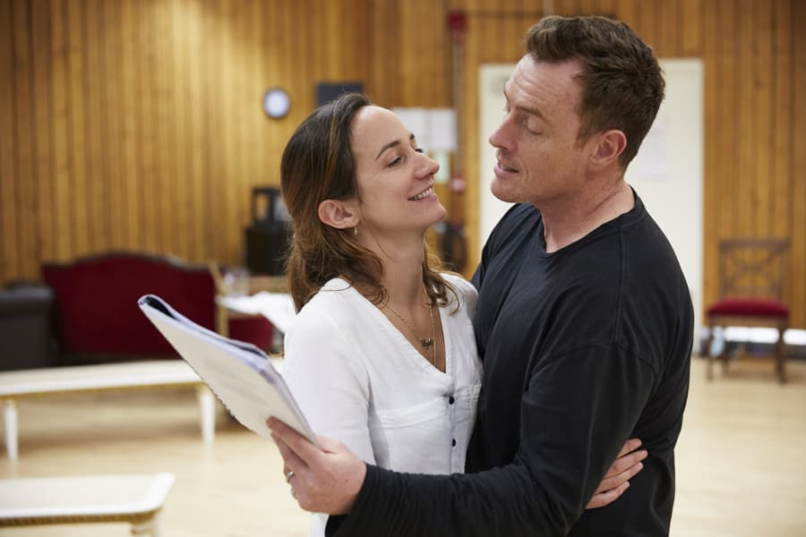 Lydia Leonard and Toby Stephens in rehearsal for Oslo (Photo: Brinkhoff/Mögenberg)