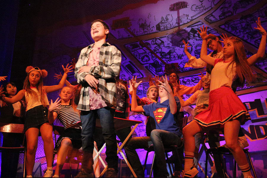 Milo Panni (Evan) and the cast of 13 The Musical (Photo: Roy Tan)