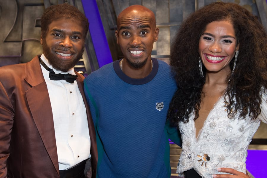 Cedric Neal (Berry Gordy), Mo Farah and Lucy St Louis (Diana Ross) at Motown The Musical (Photo: Craig Sugden)