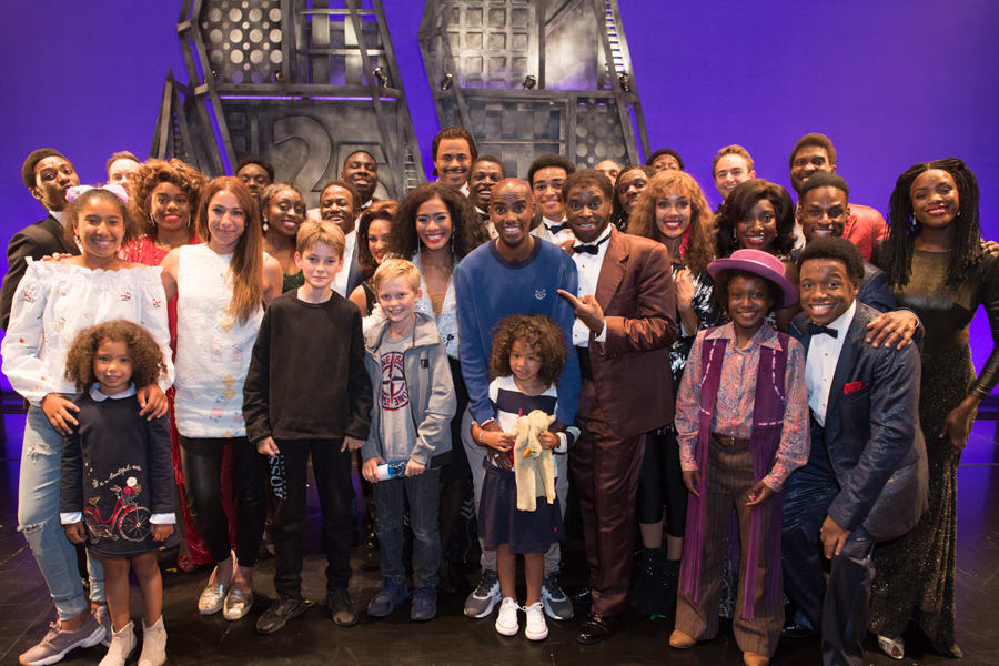 Mo Farah with his family and the West End cast of Motown The Musical (Photo: Craig Sugden)