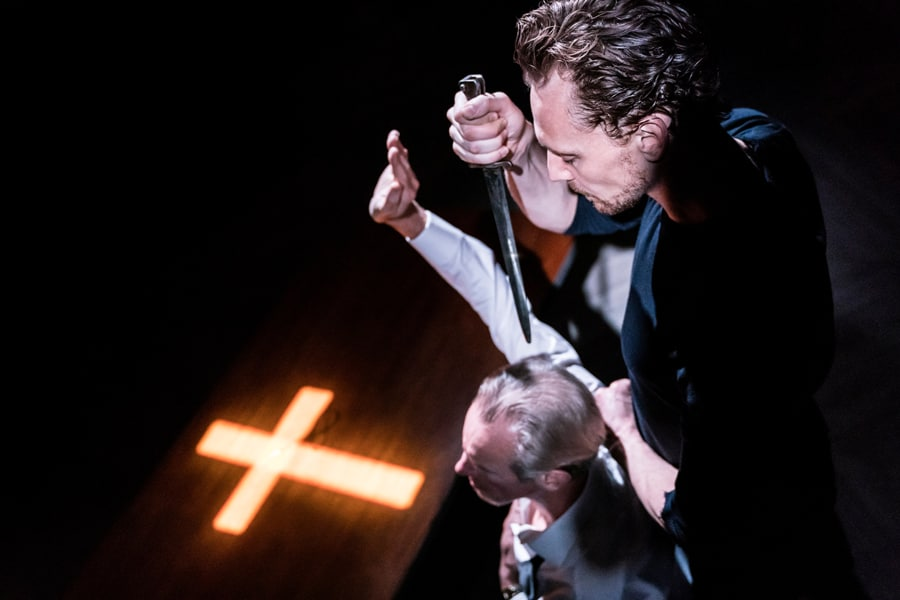 Nicholas Farrell (King Claudius) and Tom Hiddleston (Hamlet) in RADA and Kenneth Branagh Theatre Company's Hamlet (Photo: Johan Persson)