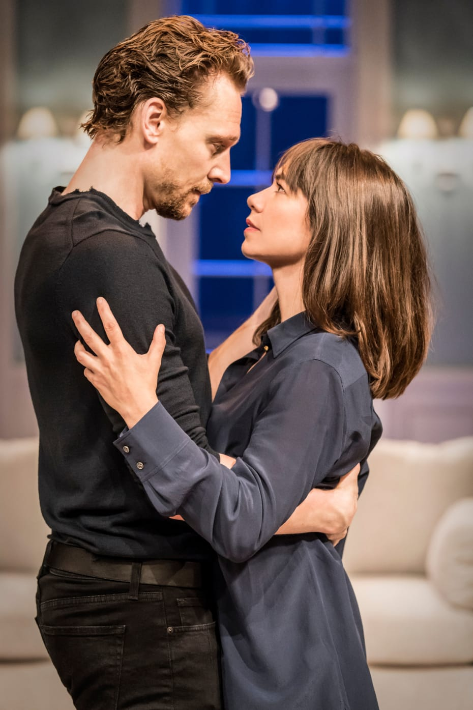 Tom Hiddleston (Hamlet) and Caroline Martin (Horatia) in RADA and Kenneth Branagh Theatre Company's Hamlet (Photo: Johan Persson)