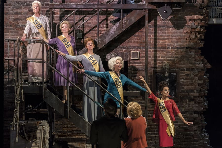 Josephine Barstow as Heidi, Gemma Page as Sandra, Janie Dee as Phyllis, Geraldine Fitzgerald as Solange & Tracie Bennett as Carlotta in Follies at the National Theatre (Photo: Johan Persson)