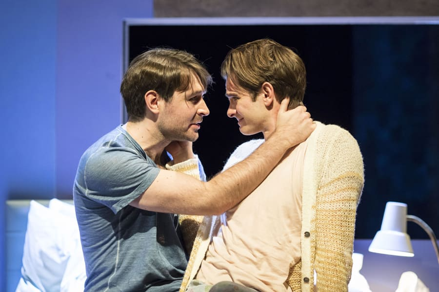James McArdle (Louis) and Andrew Garfield (Prior) in Angels In America - Millennium Approaches (Photo: Helen Maybanks)