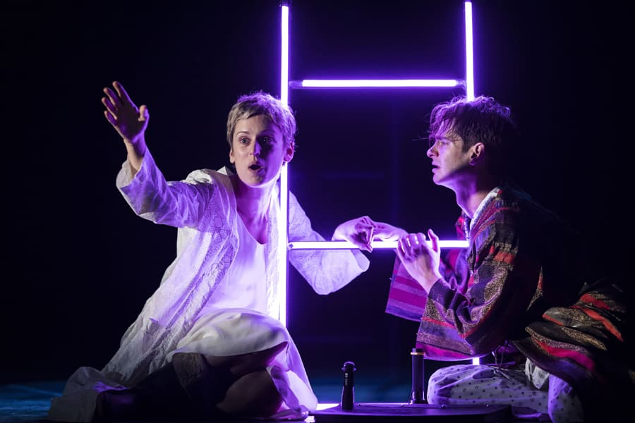 Denise Gough (Harper) and Andrew Garfield (Prior) in Angels In America - Perestroika (Photo: Helen Maybanks)