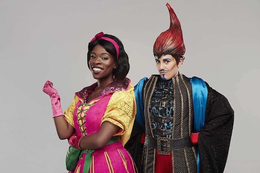 Faith Omole (Jack) and Vikki Stone (Fleshcreep) in Jack And The Beanstalk, the Lyric Hammersmith panto (Photo: Jay Brooks)