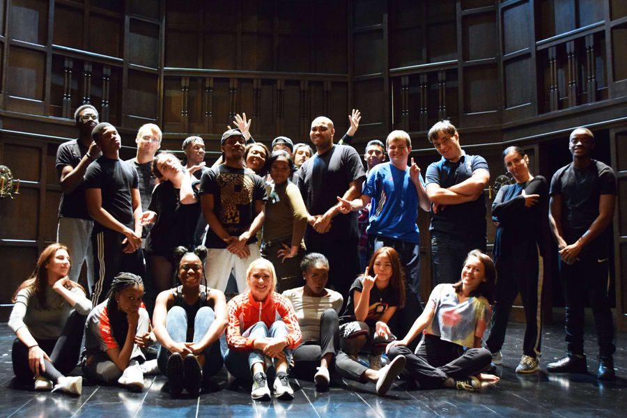 Maddy Hill on stage at the Theatre Royal Haymarket with Cyberscene Students