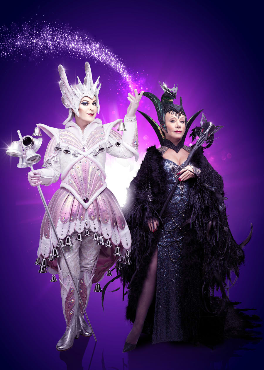 Julian Clary (Spirit of the Bells) and Elaine Paige (Queen Rat) in Dick Whittington